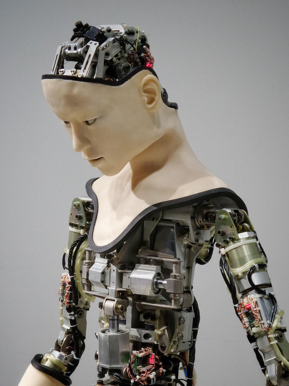 white and brown human robot illustration