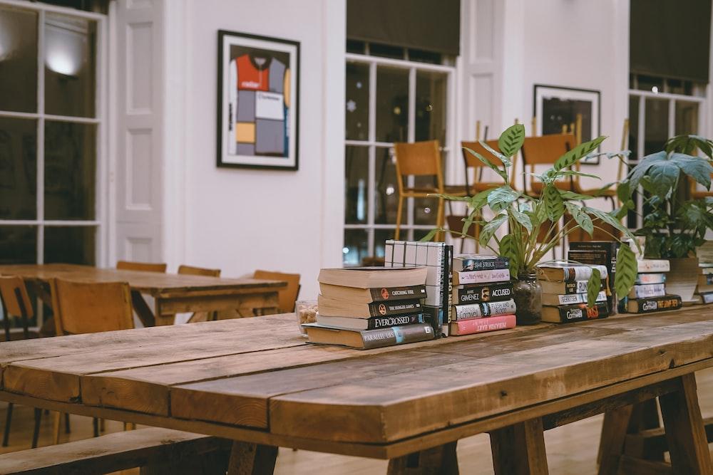 rectangular brown wooden table