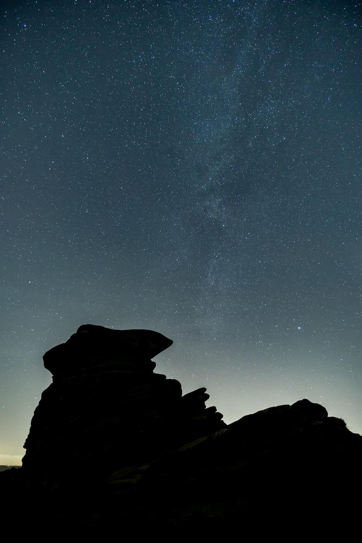silhouette on rocky mountain