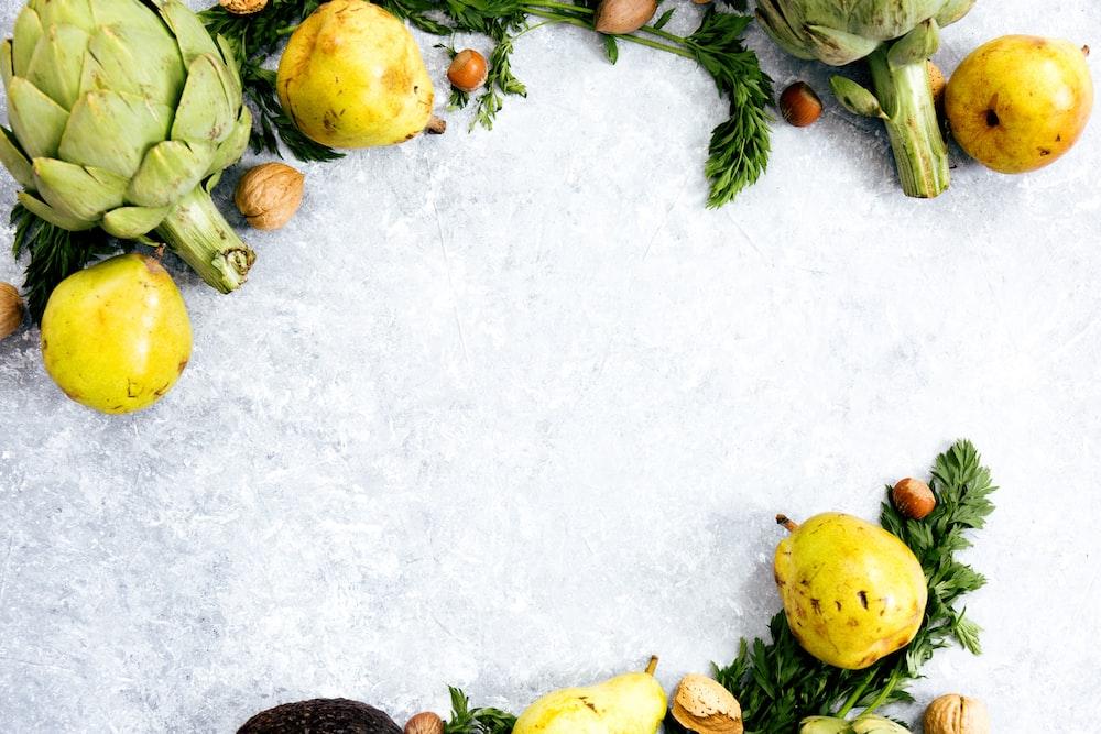 yellow fruits on ice