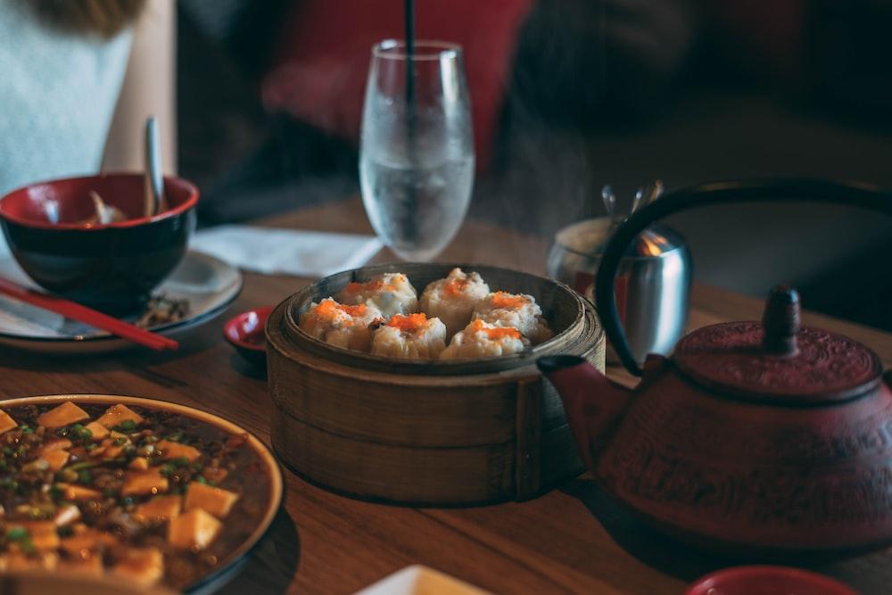 steam dumpling on brown steam box