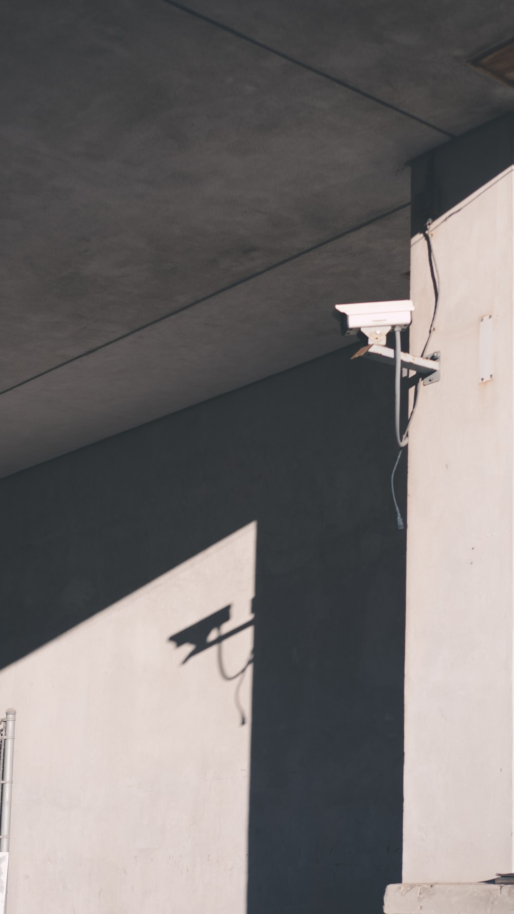 white box security camera on wall