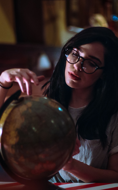 woman holding earth globe