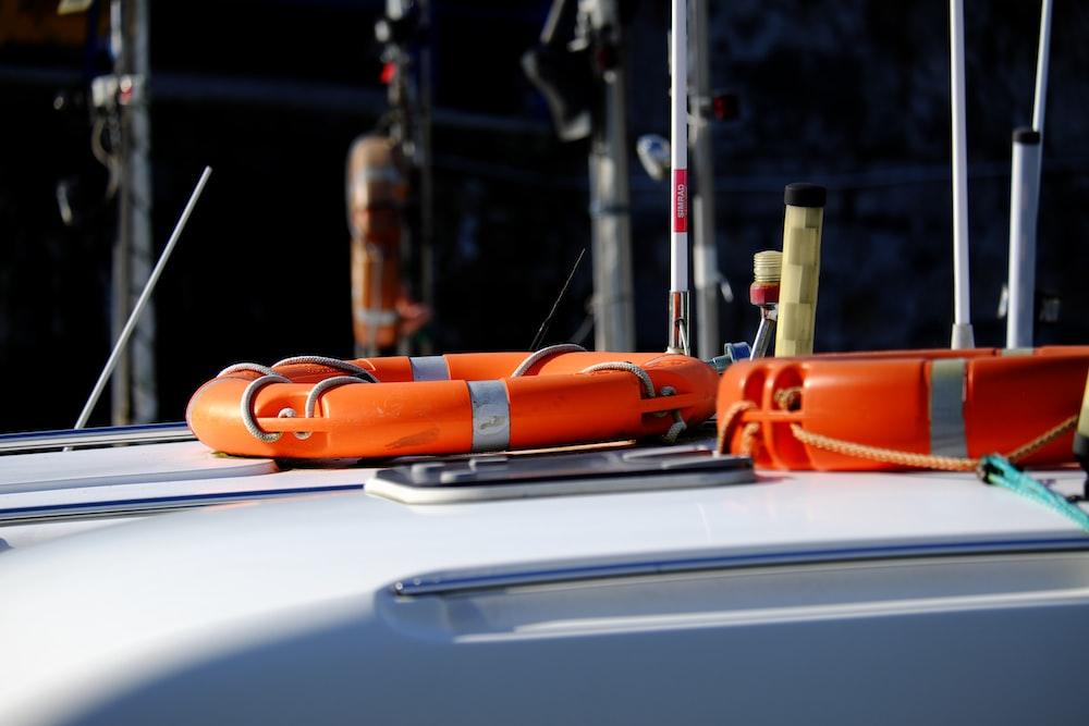 two orange survival rings