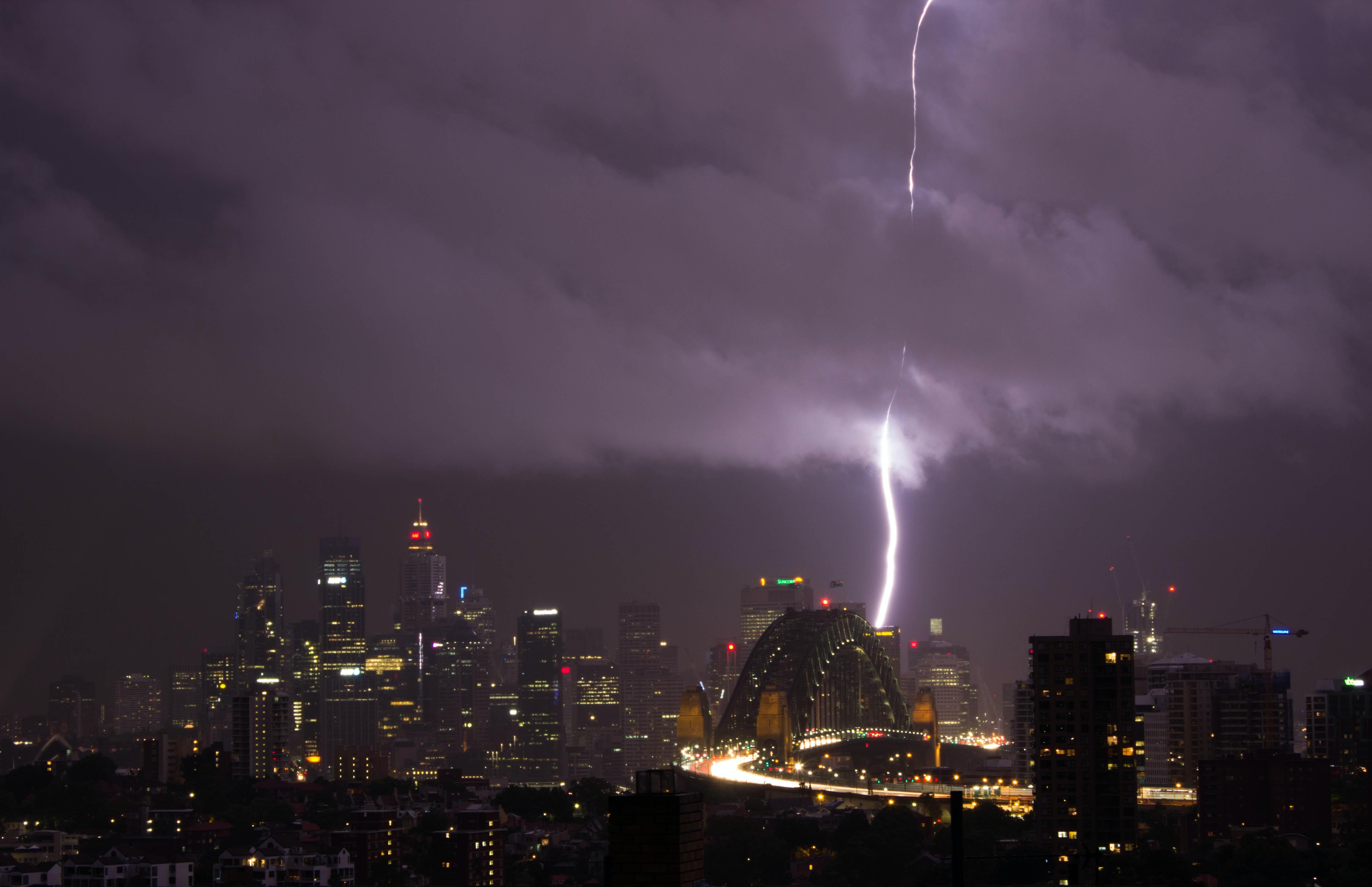 thunder on concrete buildings