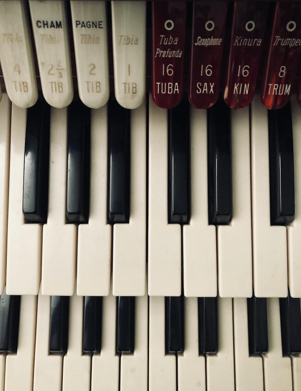 close-up shot 2-piano hammond keyboard