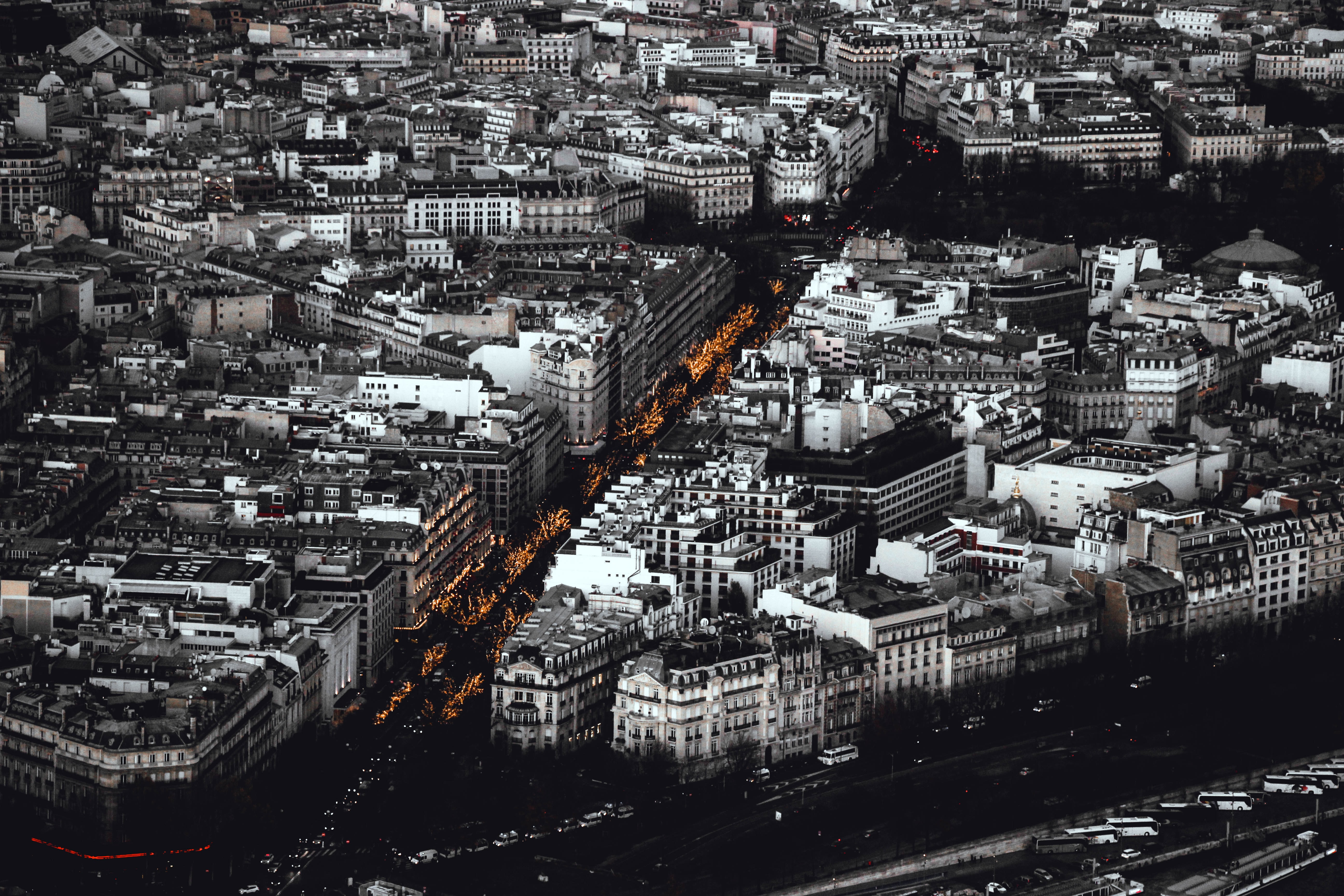 grayscale photography of aerial photography of buildings