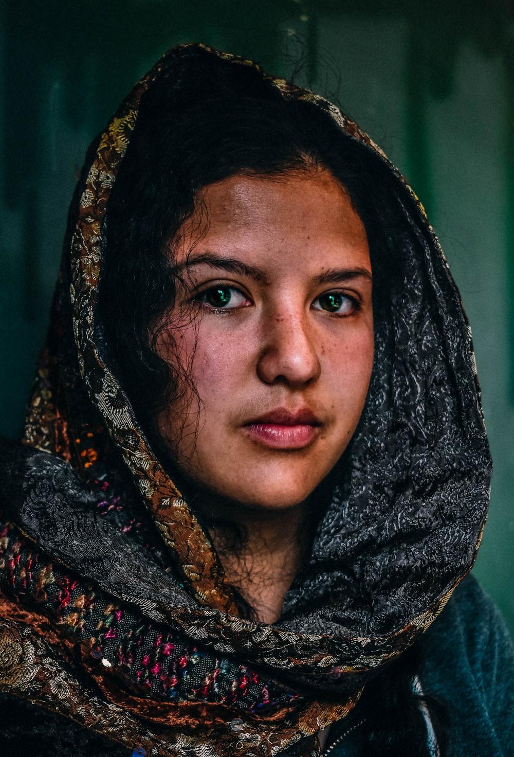 woman in black scarf
