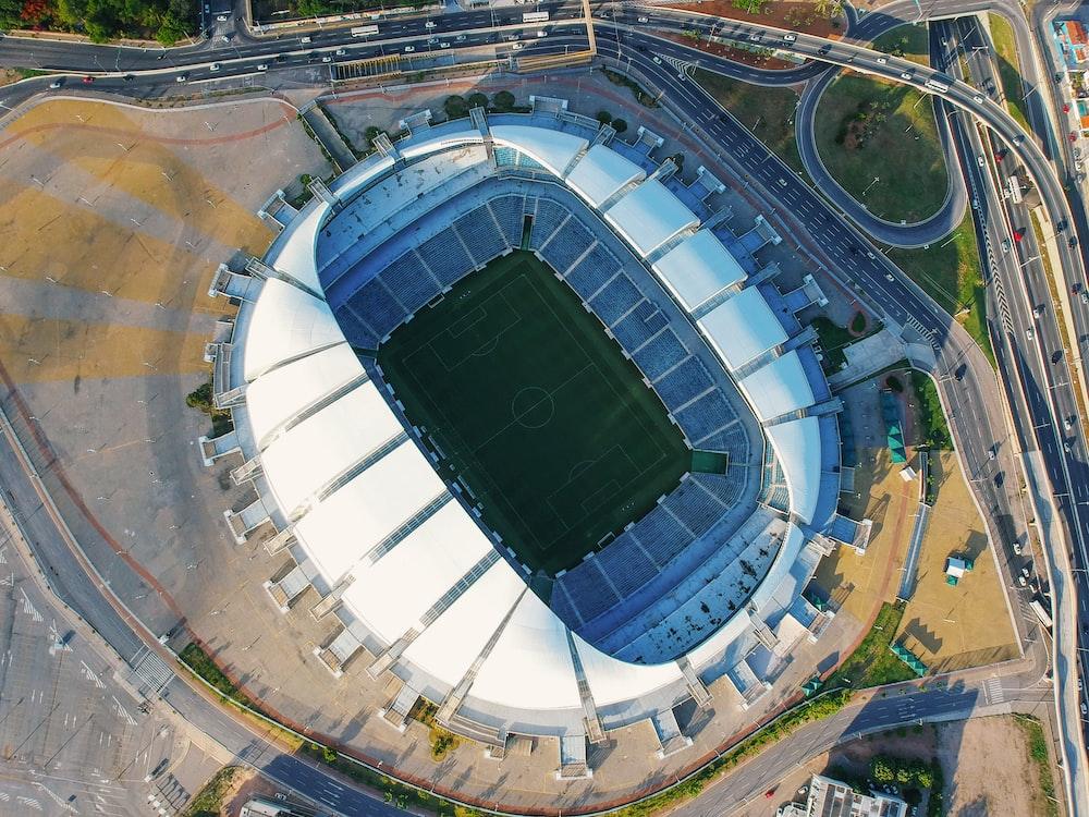 aerial photo of soccer stadium