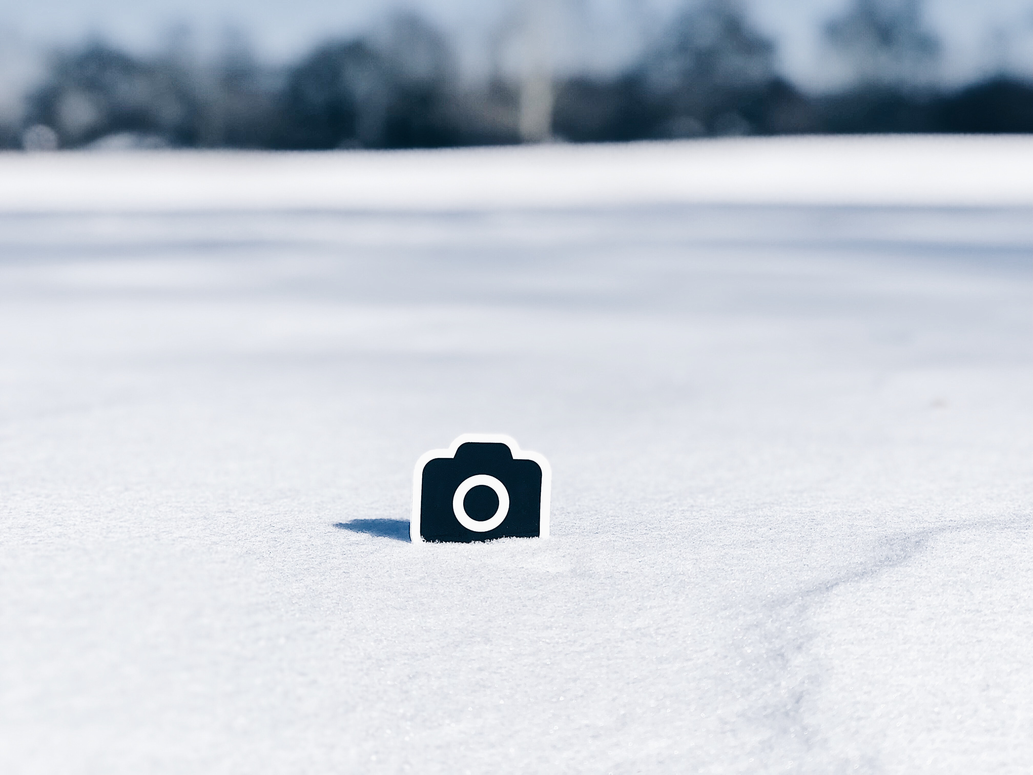 camera sticker on snow land