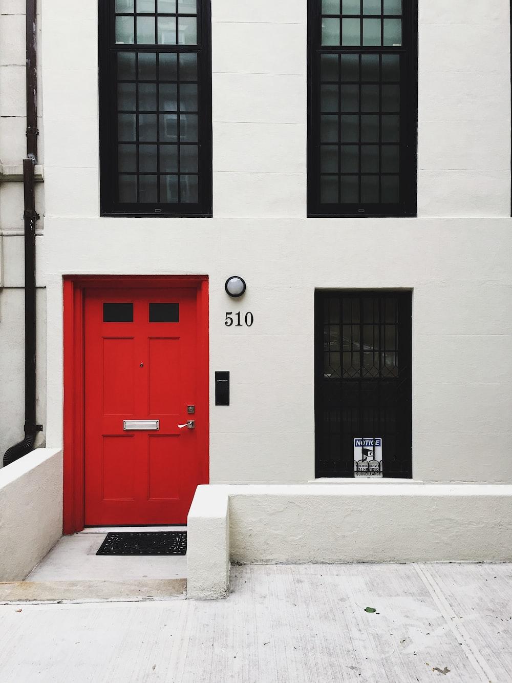 red wooden door closed