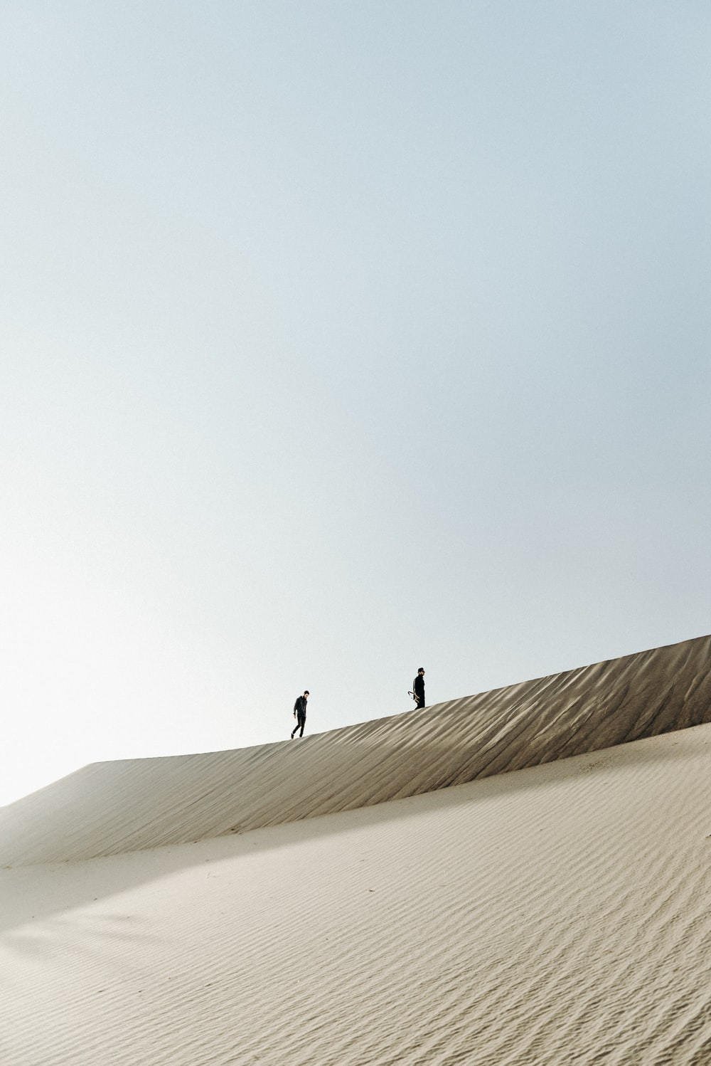 two men on the desert at daytime