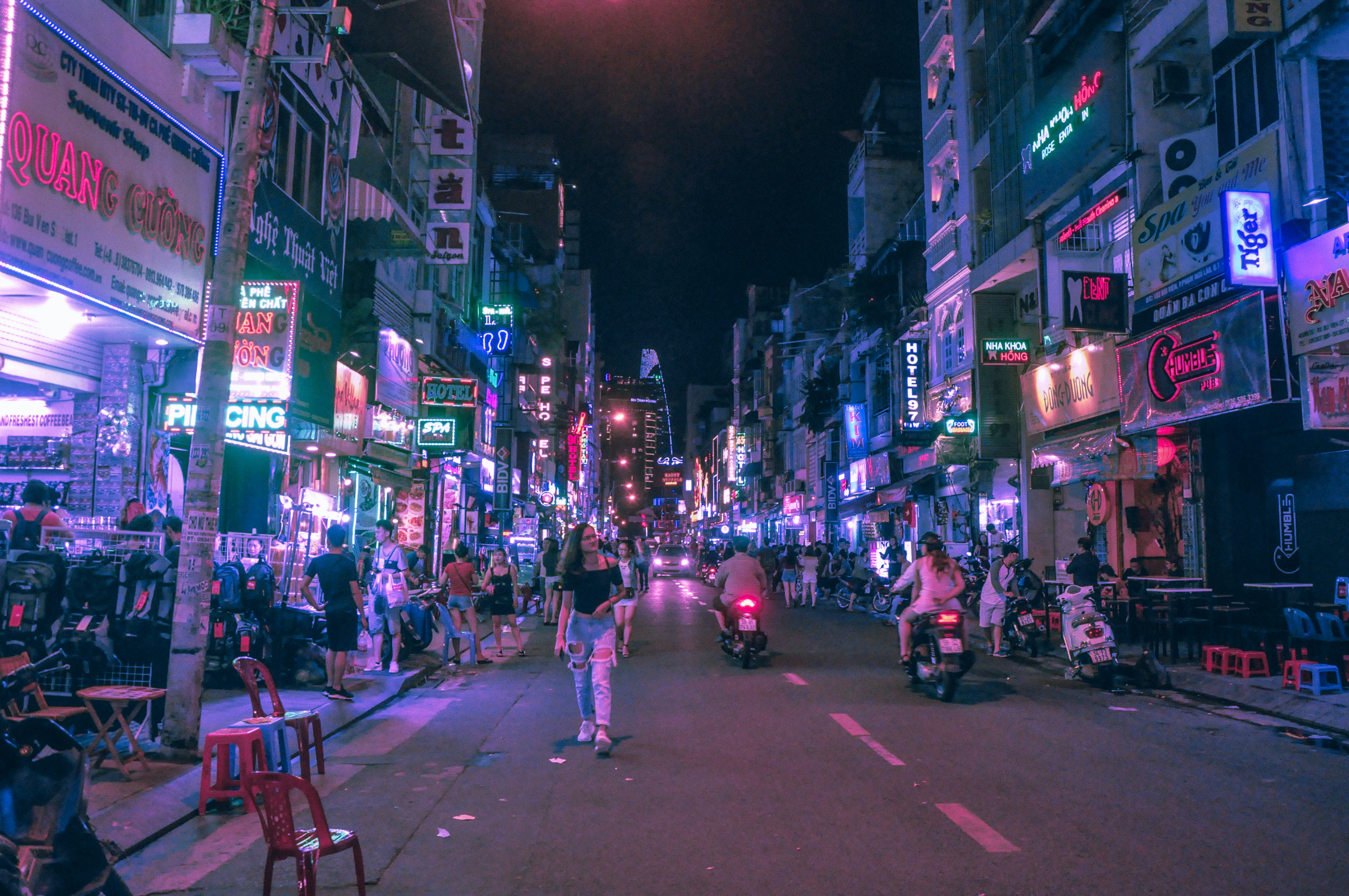 several people in street during nighttime