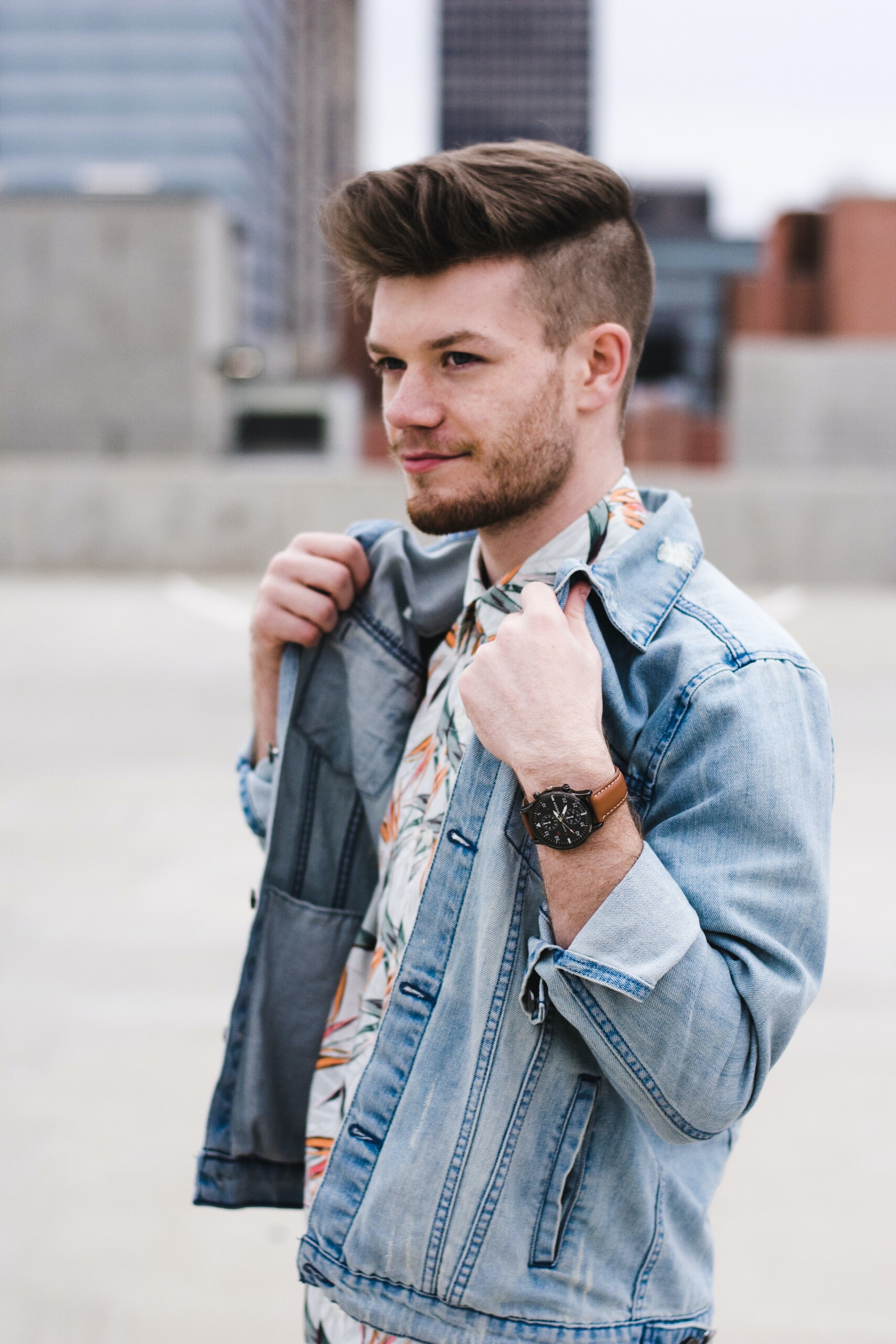 man modeling denim jacket