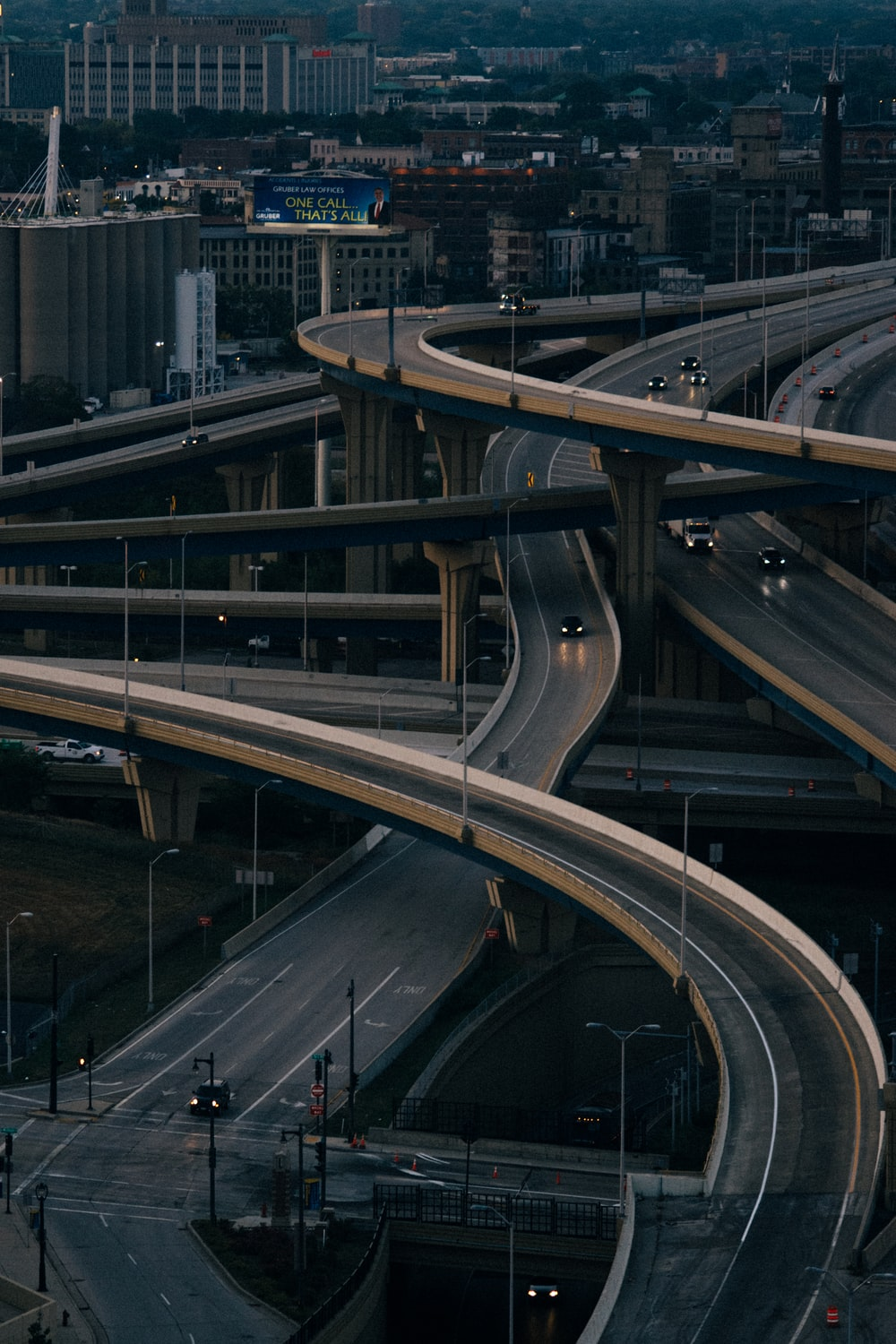 aerial photography of roads