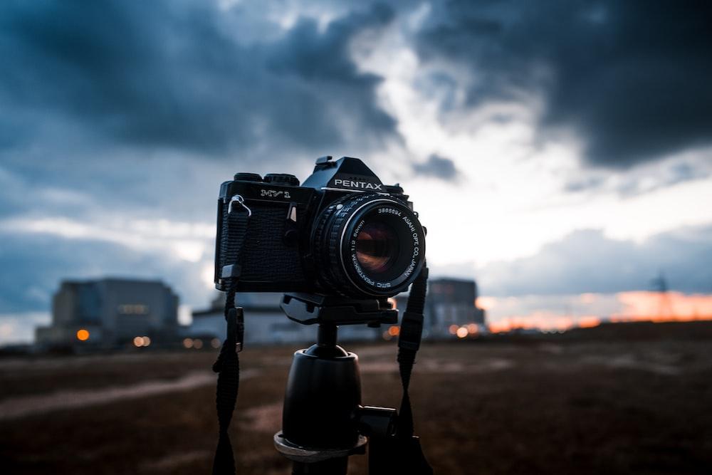 tilt shift lens photo of Pentax camera