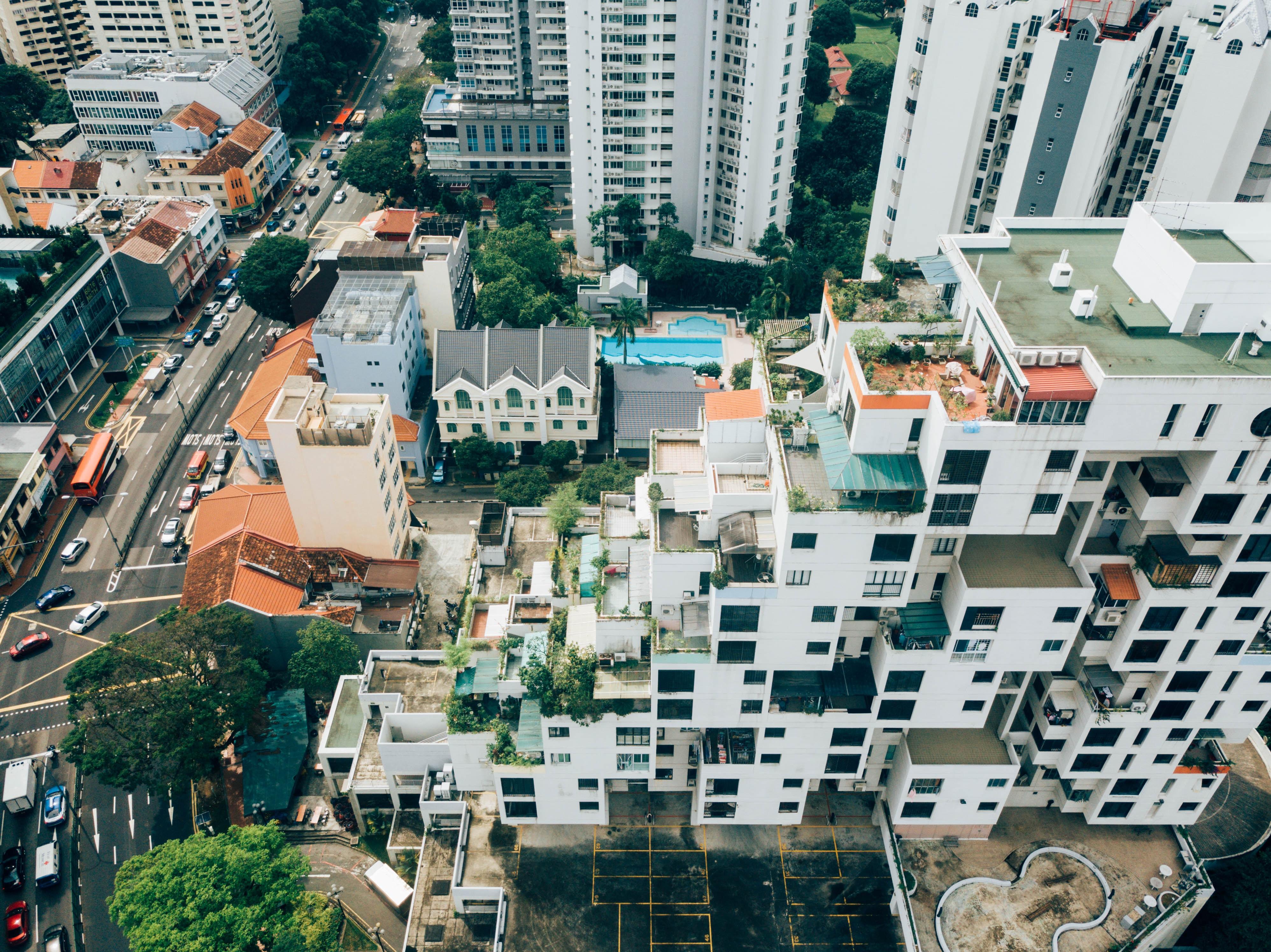 aerial photo of white concrete buildings