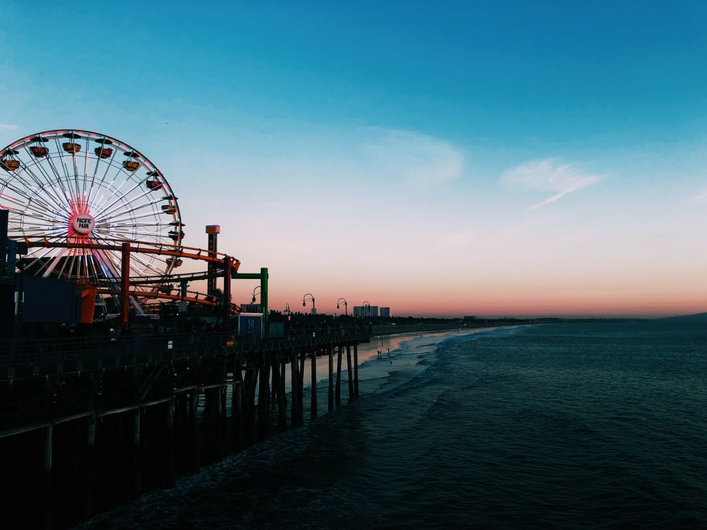 Ferris wheel near beach shore