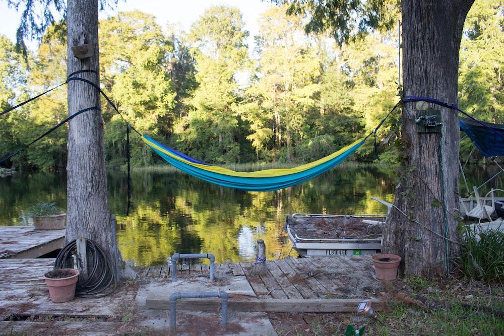 blue hammock binded on tree