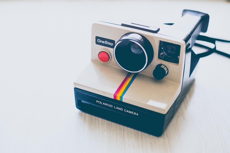 Polaroid camera on the table