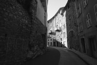 grayscale photography of townhouse