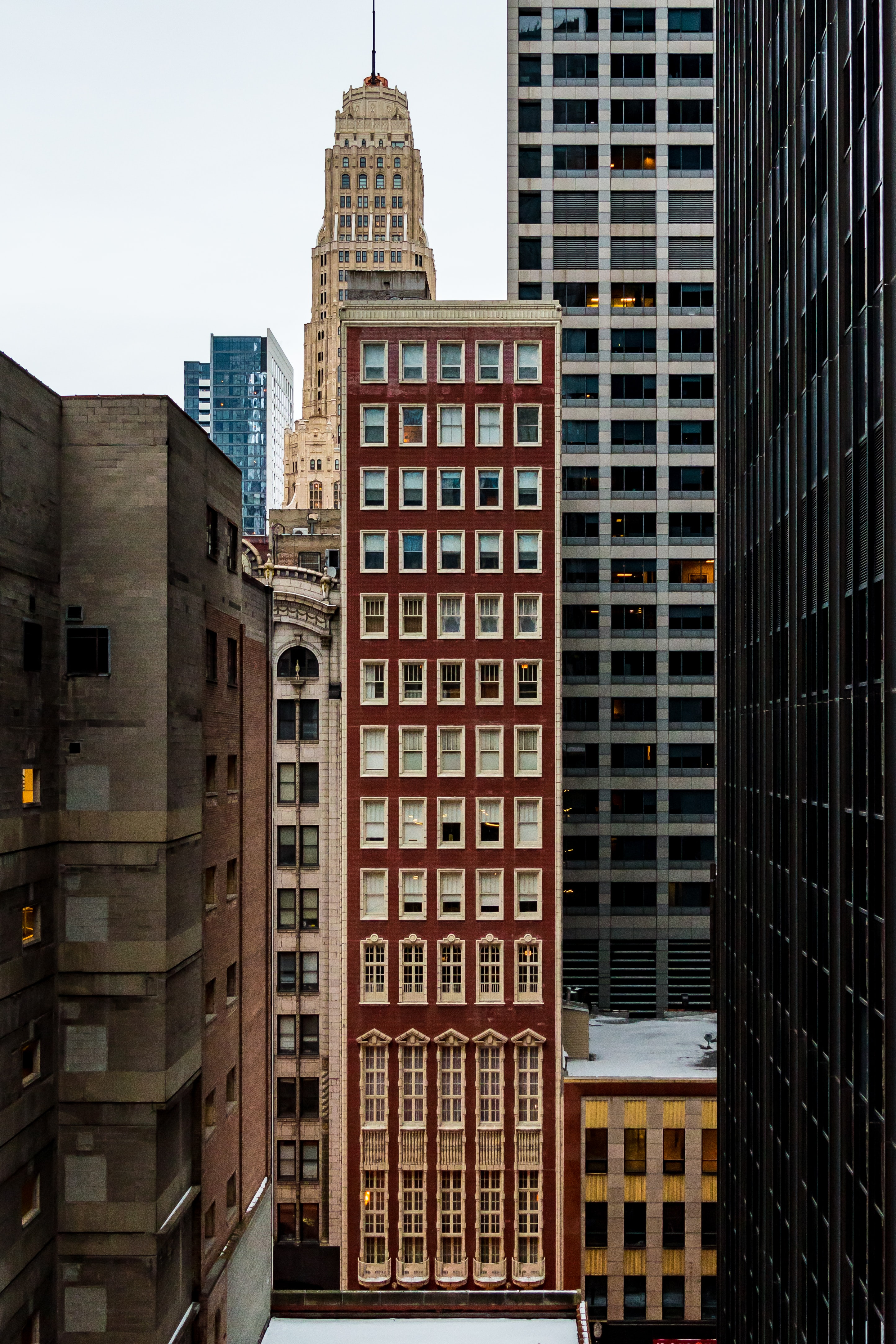red concrete high-rise building