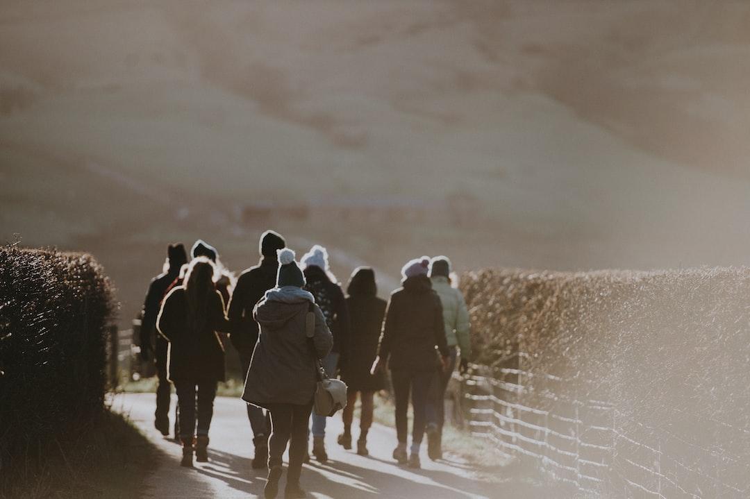 Group walking along a lane