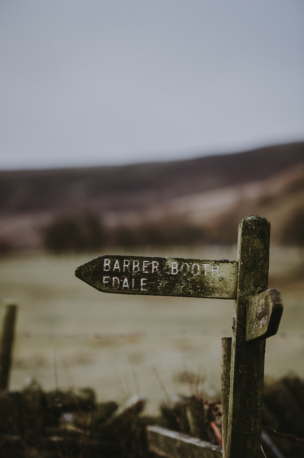macro shot of black wooden Barber Booth Edale signage