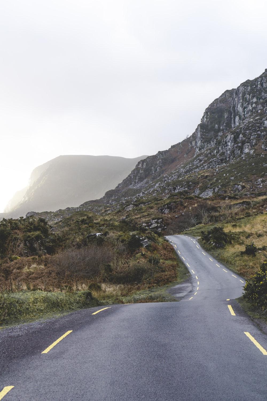 concrete road across the mountain