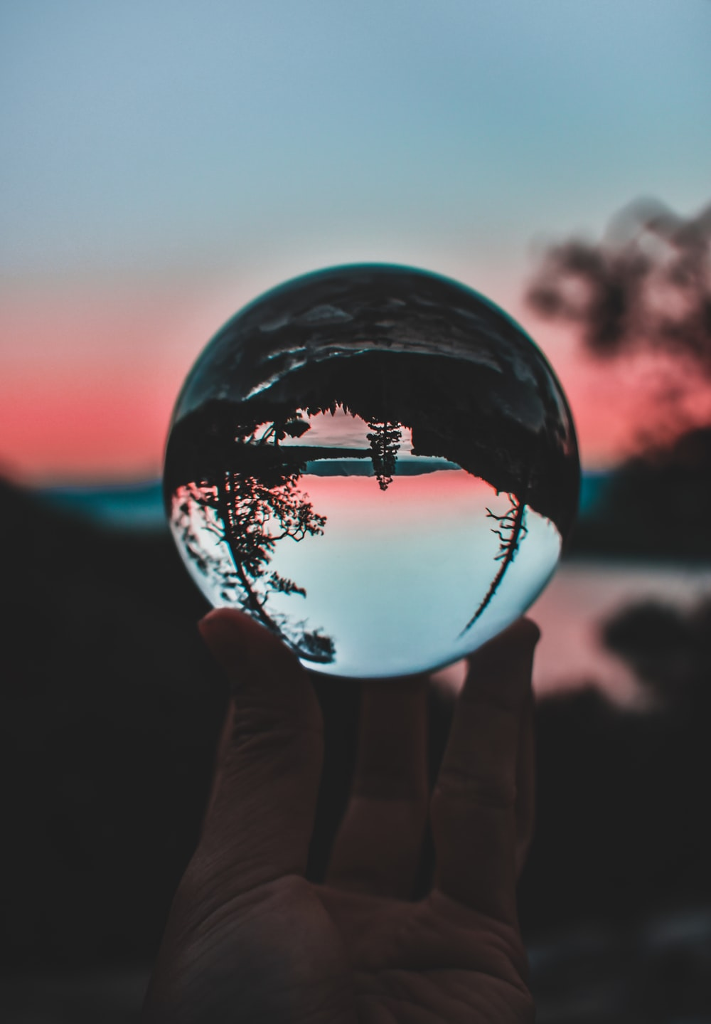 person holding clear crystal ball