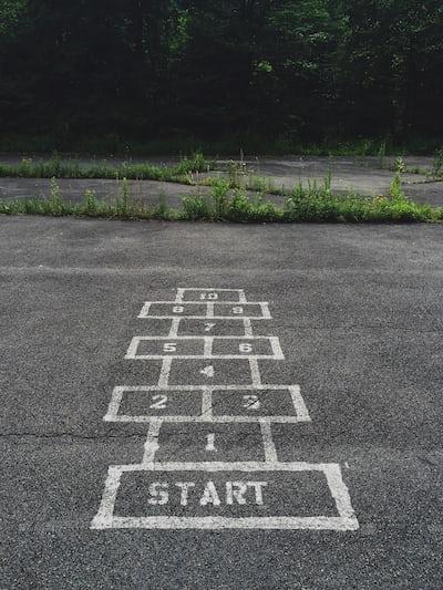 numbering start line on concrete floor