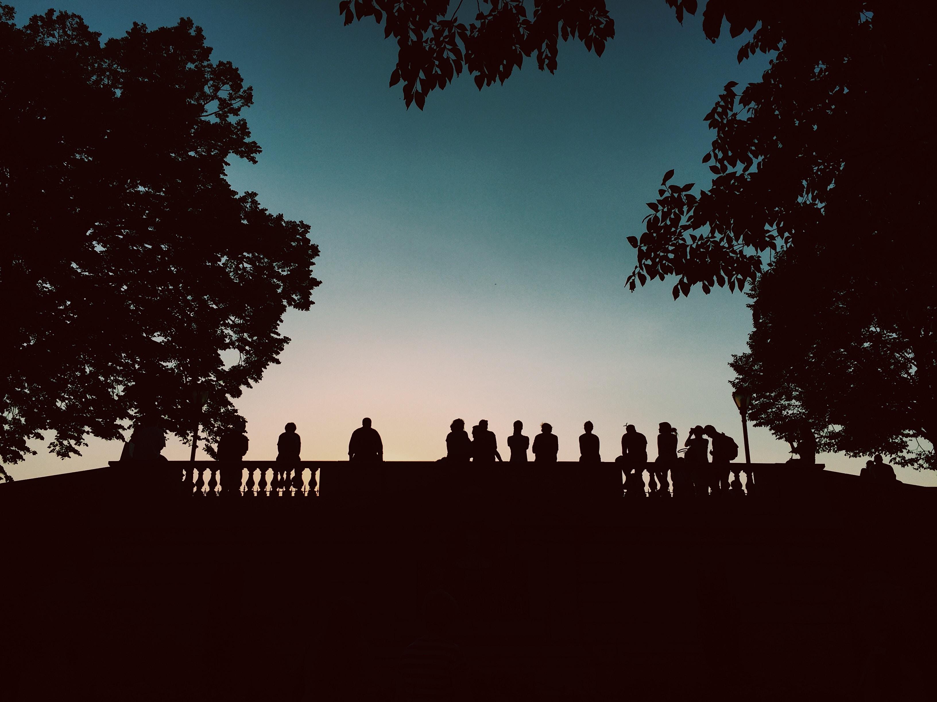silhouette of people standing beside bridge during blue hour
