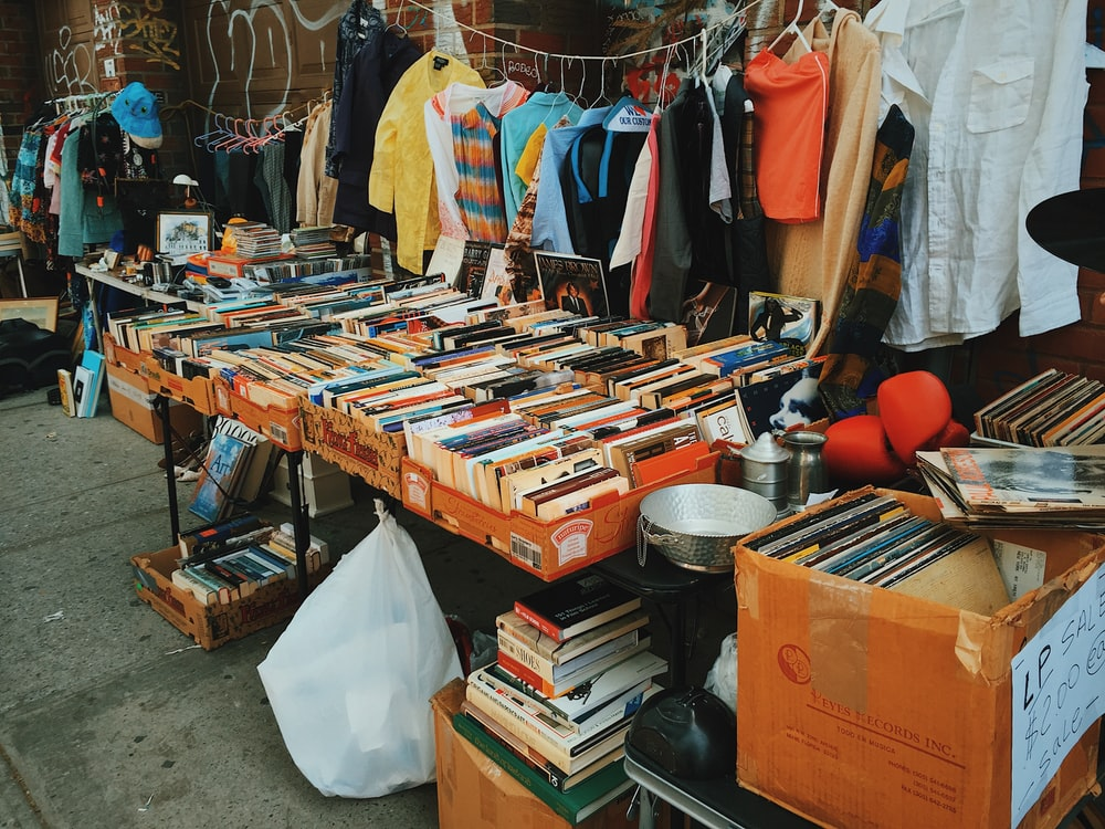 assorted books on table