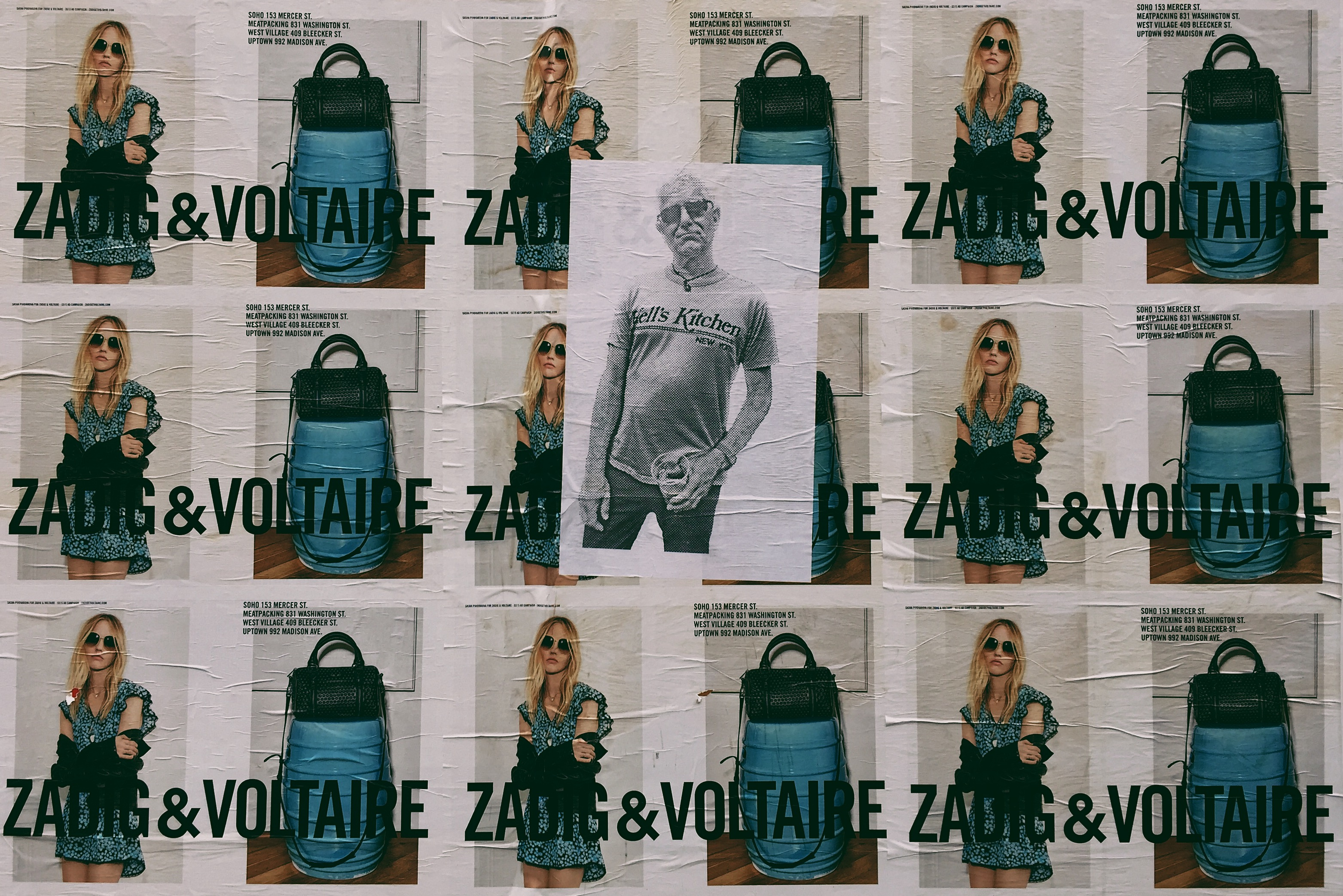 women's black leather 2-way bag collage with text overlay