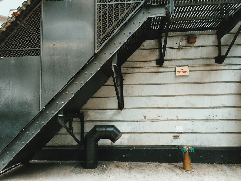 gray steel staircase