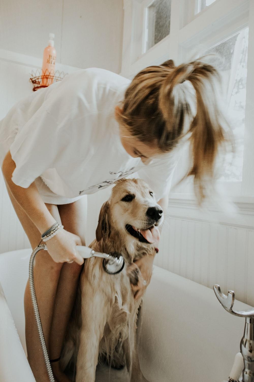 woman bathing dog in bathtub