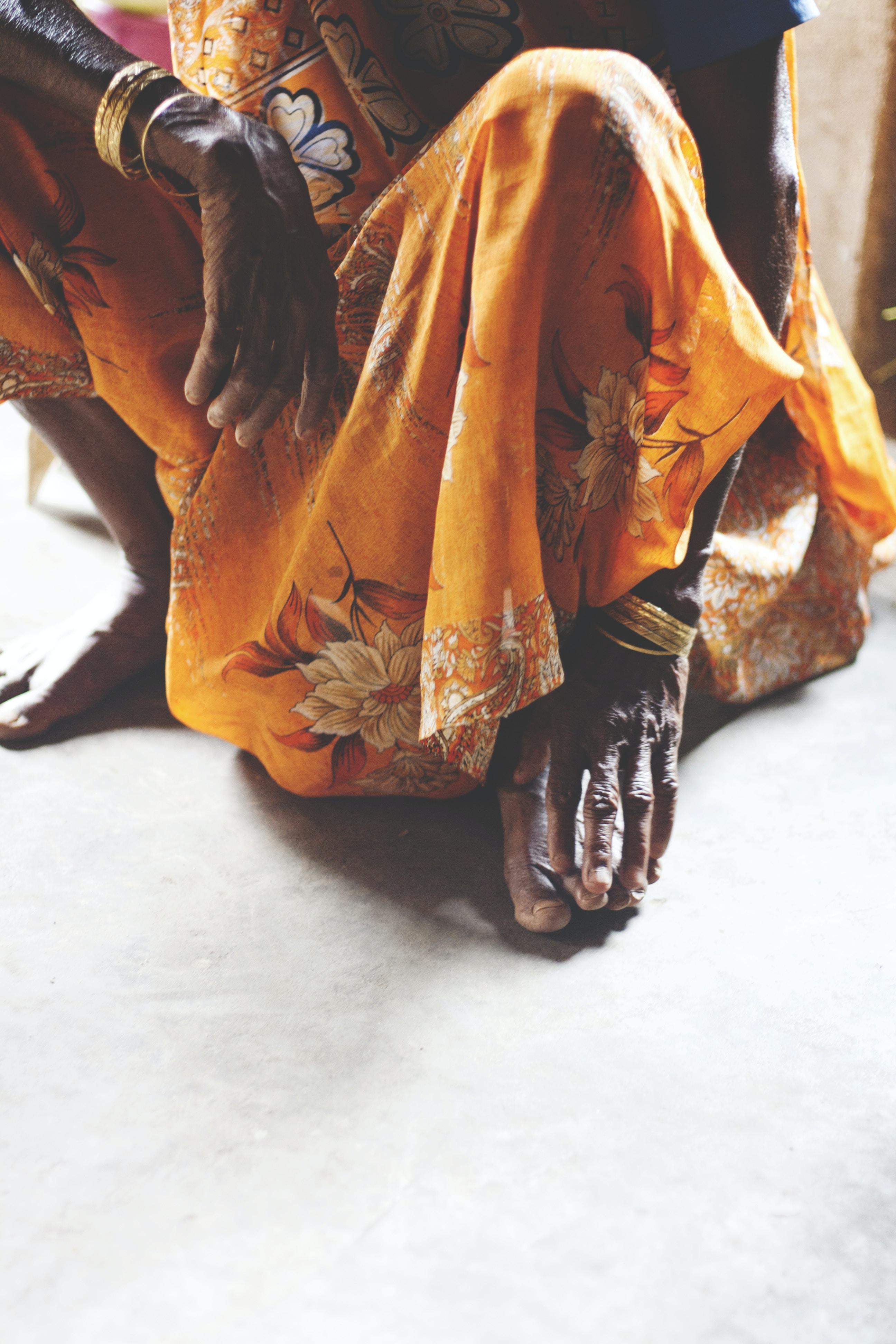 woman squatting on floor