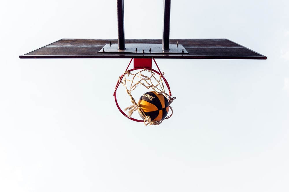 low angle view of ball shoots in the ring