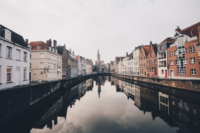 river in between houses during daytime belgium teams background