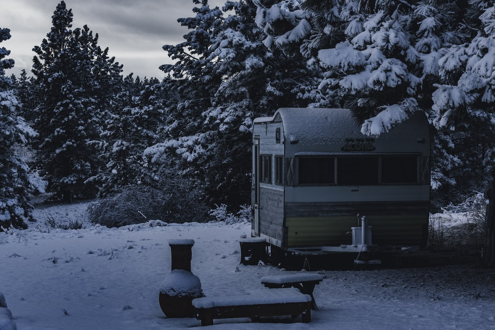 white and brown camper trailer surrounded with pine trees covered with snow