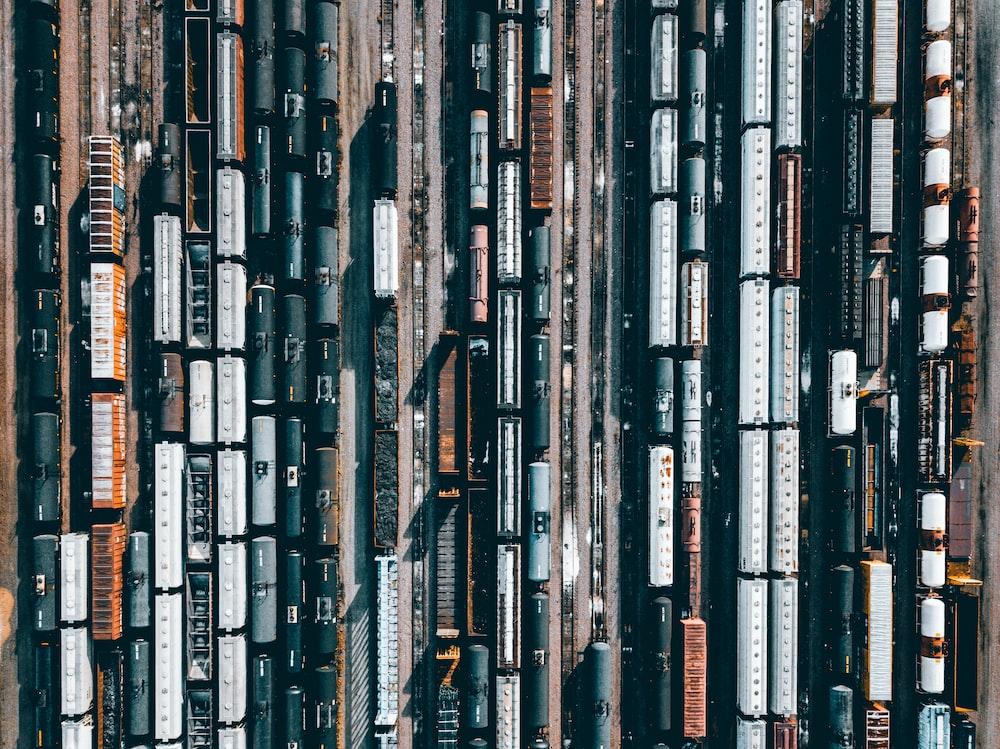 high-angle photo of trains