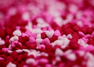 pink, white, and red heart decor