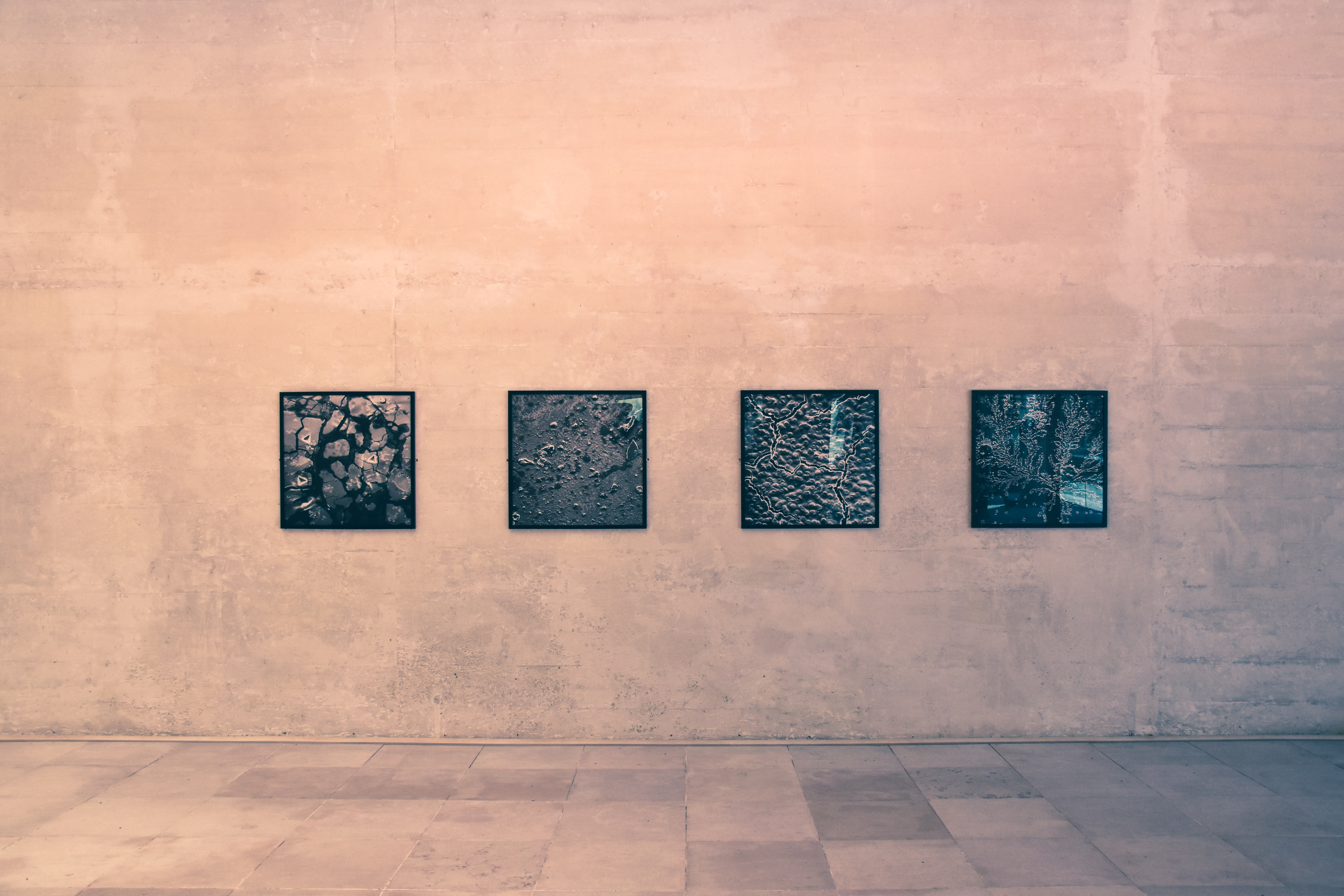 four black wall arts on brown wall