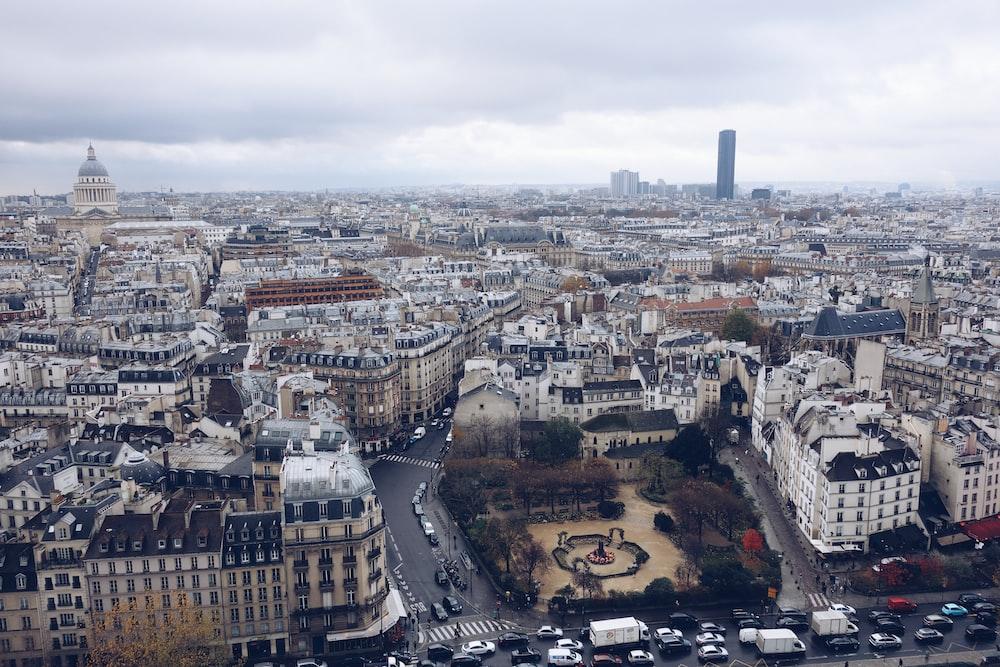 city overhead photo