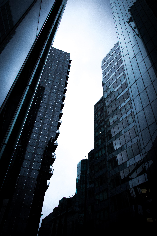 man's eye view of city buildings