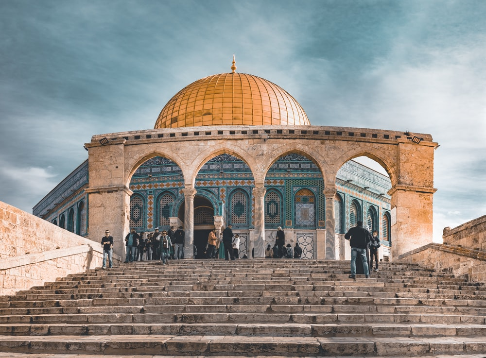 orange and blue dome mosque