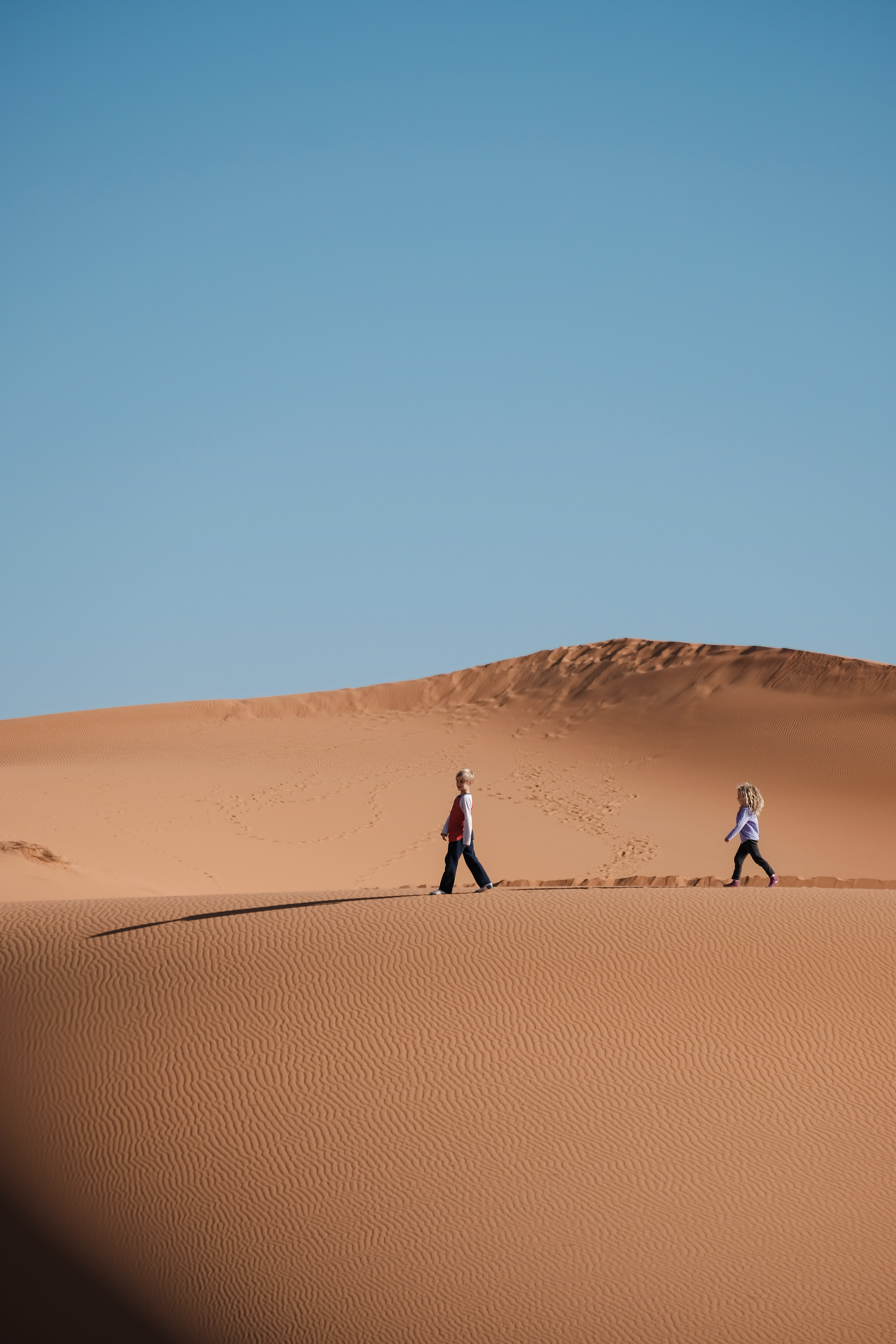 man and woman walking on brown sands