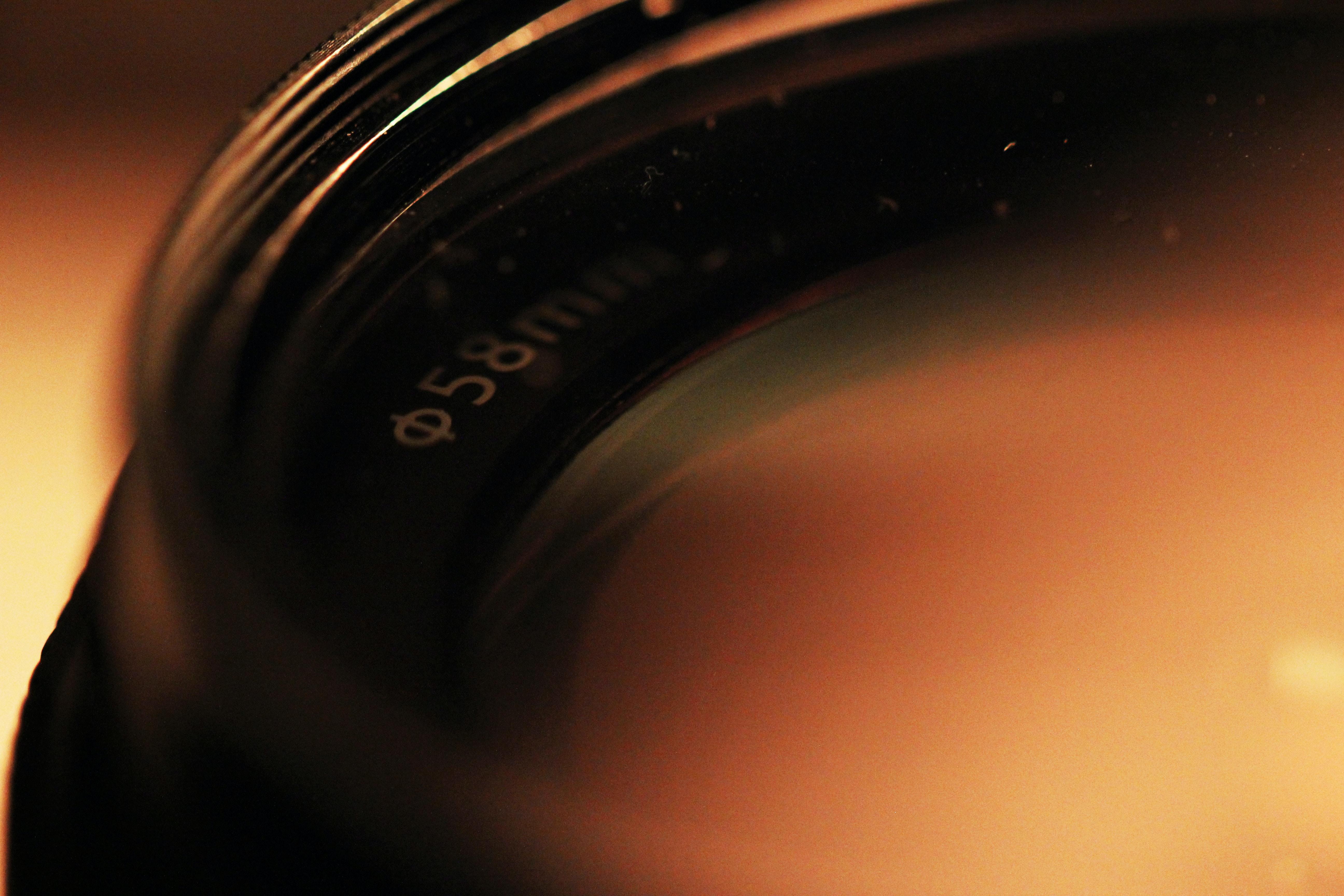 closeup photography of telephoto lens