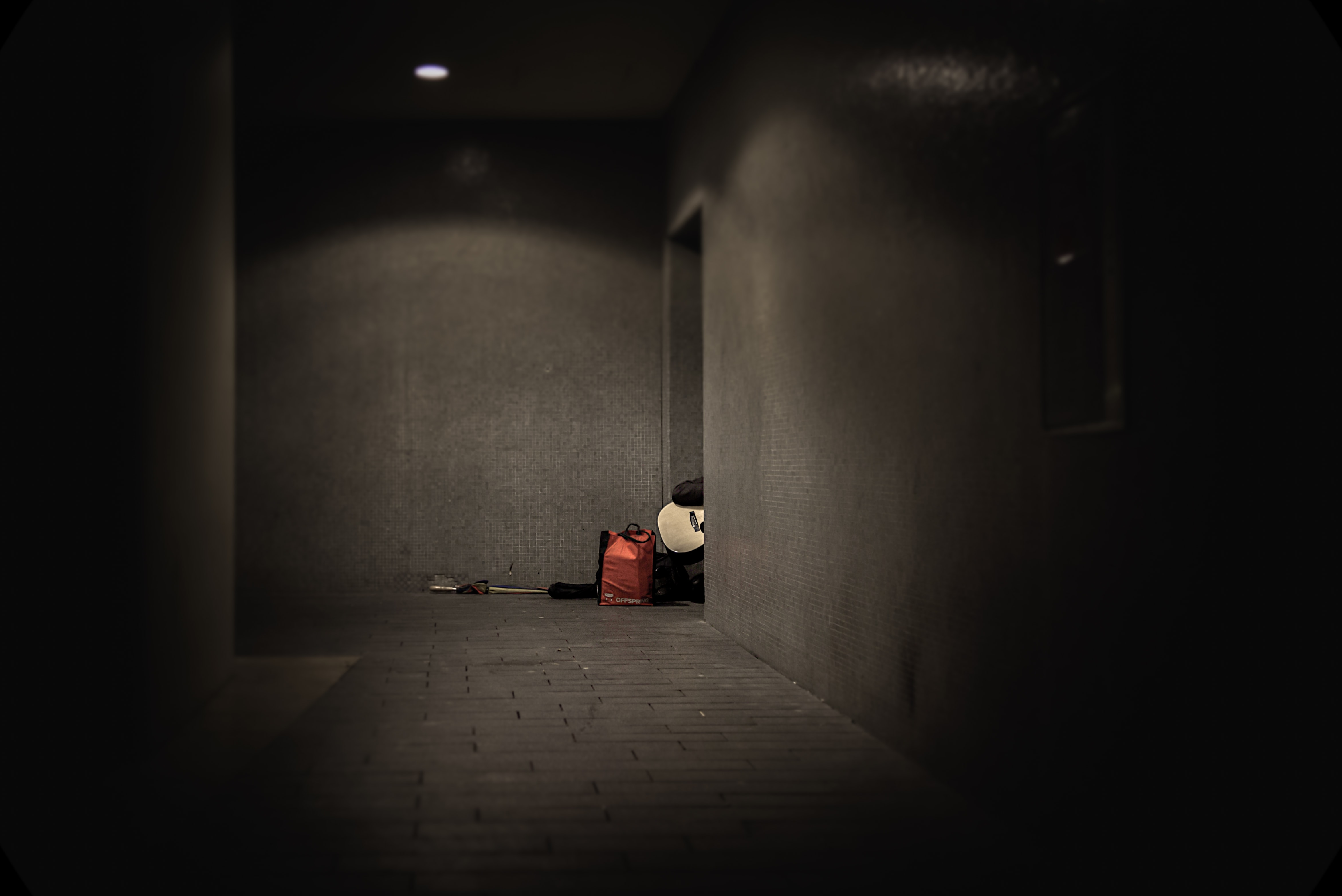 red bag in front of doorstep