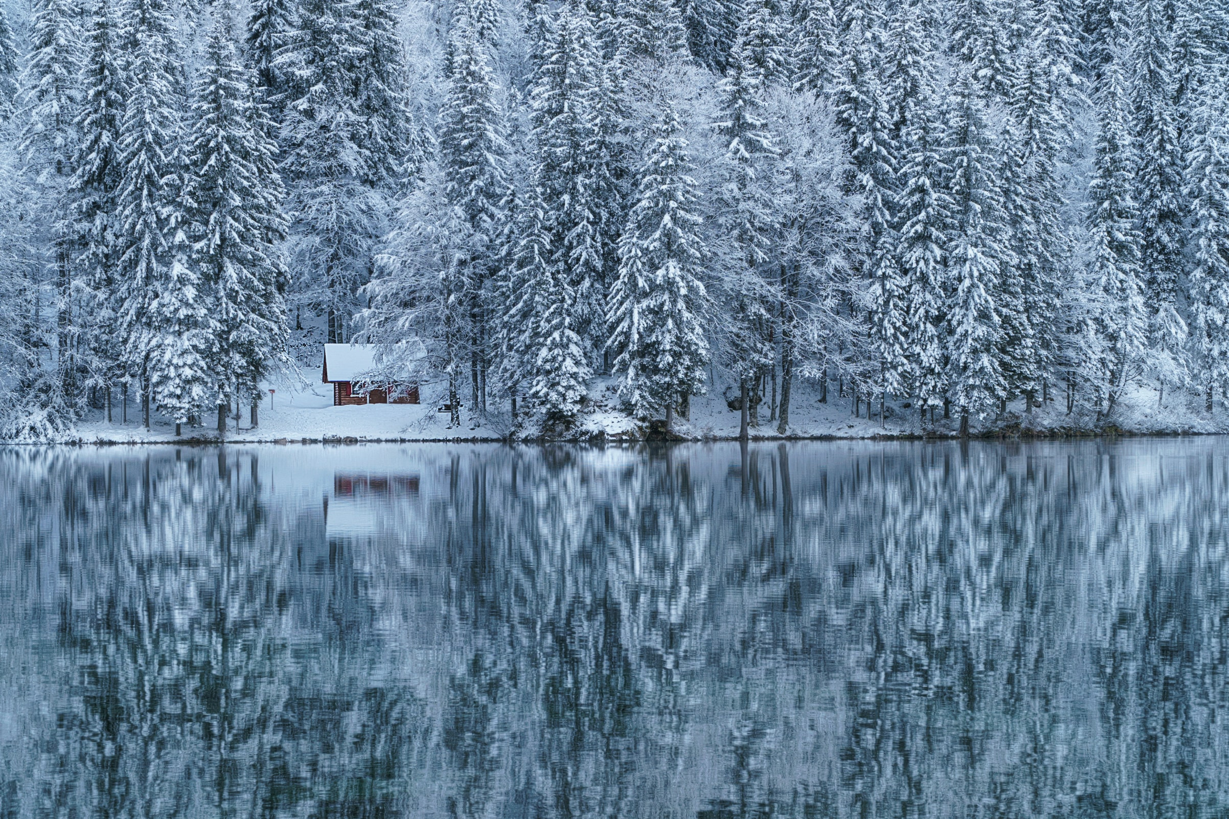 cabin near woods and lake with snow